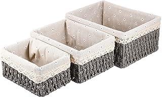 WINOMO 3pcs Hand- woven Storage Baskets Rattan Storage Bins Containers Key Sundries Desktop Organizer with Liner For Organ...