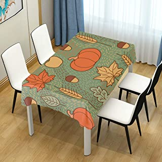 ZZAEO Autumn Pumpkins Leaves Wheat Apples Tablecloth Stylish Polyester Stain Resistant Tabletop Protector Cloth Cover for Home Kitchen Holiday Party Decor, 54 x 54inch