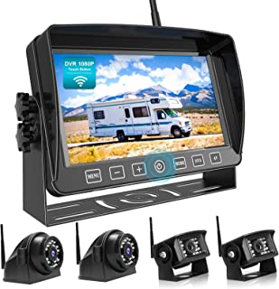 "$419 » Fookoo 1080P Wireless Backup Camera System Kit with Recording, 7"" HD Quad Split Monitor with Touch Button & IP69 Waterproo..."