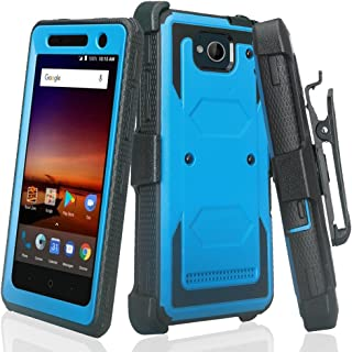 COVERLABUSA Full-Body Holster Case Compatible for ZTE Majesty Pro Case, ZTE Majesty Pro Plus Case [Built-in Screen Protector] Swivel Belt Clip [Kickstand] - (Blue)