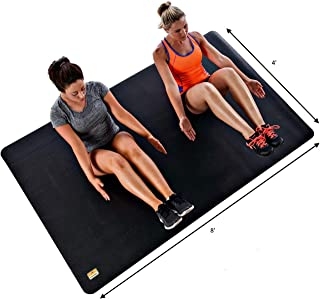 """Pogamat Large Exercise Mat and Thick Yoga Mat - 1/4"""" (7mm) Thick High Density Workout Mat, Anti Tear Cardio Mat for Home Gym - Extra Long Fitness Mat Can Be Used with Or Without Workout Shoes"""