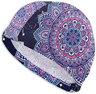Smany Indian Floral Paisley Ornament Pattern Ethnic Mandala Adult Swim Caps,High Elasticity, No Deformation Use,UV Protection, Waterproof Comfy Swimming Bathing Cap for Men and Women