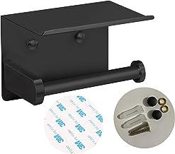 ARSUK toiletrolhouder met gsm-plank, keuken badkamer wandmontage dispenser voor tissuepapier, lijm- en schroefinstallatie...