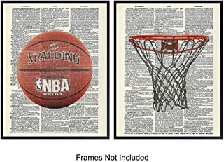 Basketball Wall Art Prints on Dictionary Photo - Set of 2 Ready to Frame (8x10) Vintage Photos - Great Gift for Boys and Girls Rooms - Perfect for Game Room and Den - Cool Home Decor