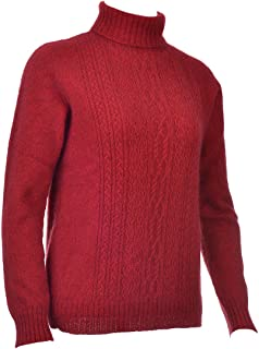 New Zealand Wool/Brushtail Possum Blend Ladies Polo Neck with Lace Detail