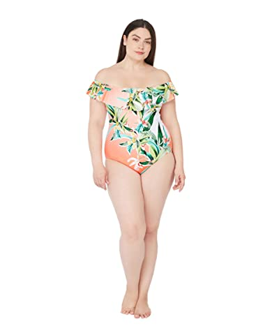 Trina Turk Plus Size Costa De Prata Off-the-Shoulder Ruffle Bandeau One-Piece Swimsuit (Multi) Women