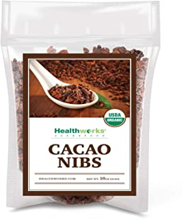 Healthworks Cacao/Cocoa Nibs Raw Organic (16 Ounces / 1 Pound) | Unsweetened Chocolate Substitute | Certified Organic | Keto, Vegan & Non-GMO | Antioxidant Superfood | Peruvian Bean/Nut Origin