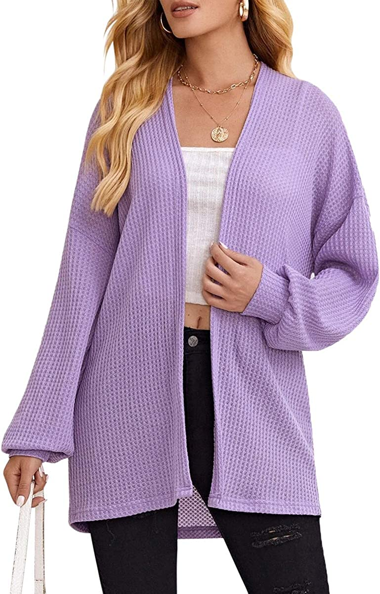 Women's Long Sleeve Knitted Solid Cardigan Blouse Open Front Casual Cover Up Purple