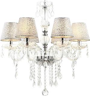 Classique lustre cristal verre abat-jour lampe plafond suspendu illumination pendentif 60cm x max. 80cm(H) 6 bras Lewima M...