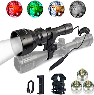 UniqueFire 1405 850nm 4715AS IR LED Infrared Light Flashlight Adjustable Focus 67mm Convex Lens Night Vision Torch with Remote Pressure Switch, USB Charger, 1'' Scope Mounts, 3 led Pills for Hunting