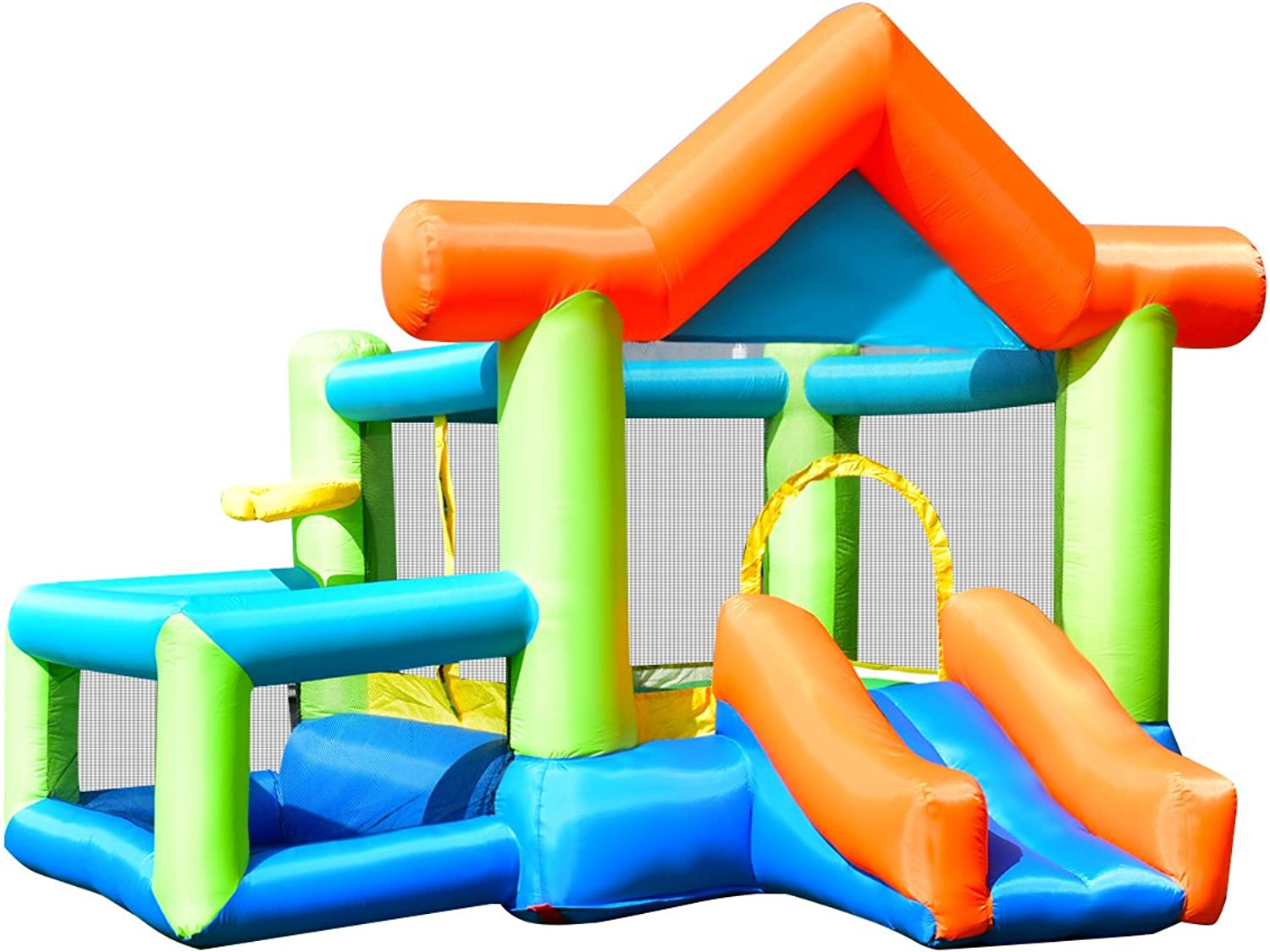 GYMAX Kid Bouncy Castle Inflatable Jumper House Bouncer W  Basketball & Hoop Indoor Outdoor Christmas Gift