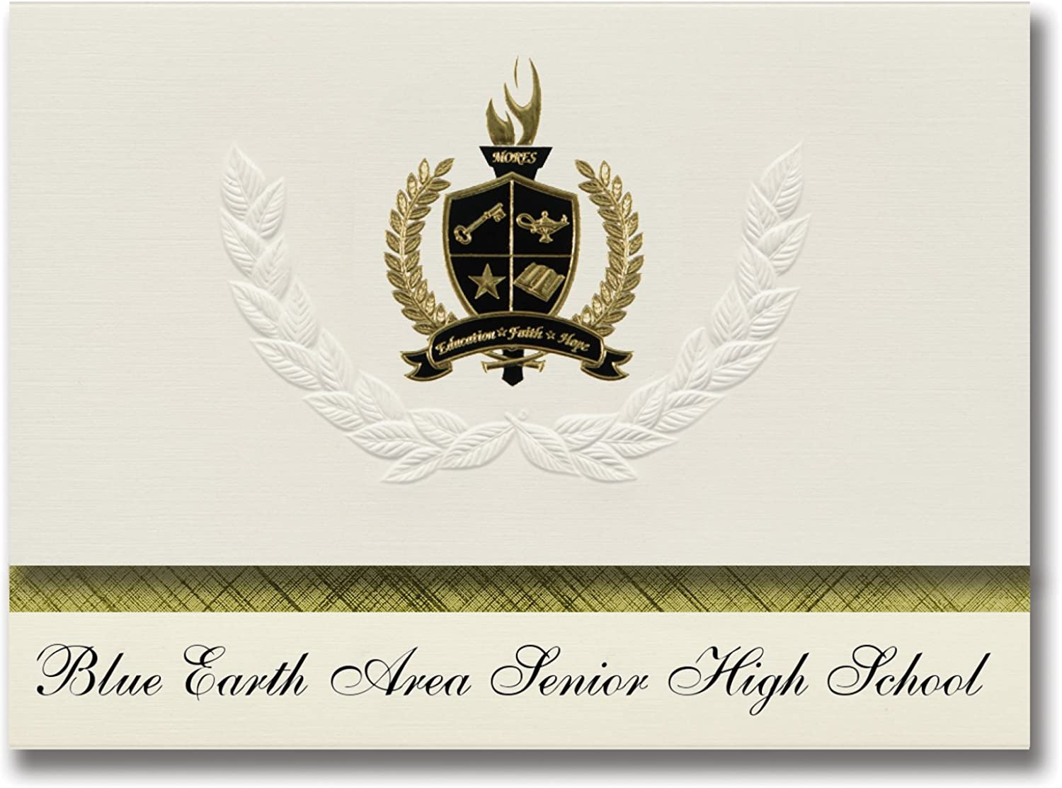 Signature Ankündigungen Blau Earth Bereich Senior High School School School (Blau Earth, MN) Graduation Ankündigungen, Presidential Elite Pack 25 mit Gold & Schwarz Metallic Folie Dichtung B078TNDTQJ | Spezielle Funktion