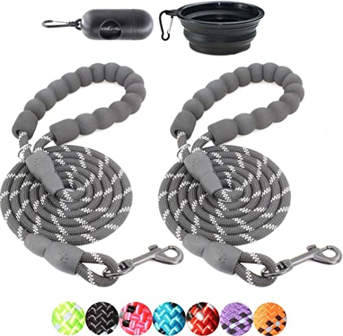 BAAPET 2 Packs 5/6 FT Strong Dog Leash with Comfortable Padded Handle and Highly Reflective Threads Dog Leashes for S...
