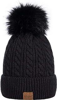 Alepo Womens Winter Beanie Hat, Warm Fleece Lined Knitted Soft Ski Cuff Cap with Pom Pom