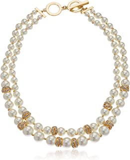 Women's Gold Tone and White Pearl 2 Row Collar Necklace, One Size