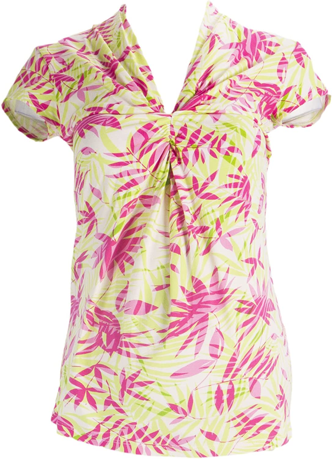 OLIAN Maternity Women's Multi Lime Palm Print Twist Accent Front Top