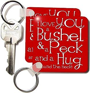 3dRose I Love You a Bushel and a Peck, Red Key Chains, Set of 2 (kc_193475_1)