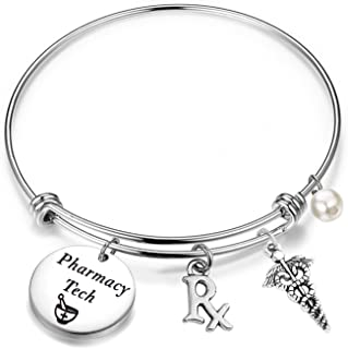 AKTAP Pharmacist Bracelet Pharmacy Tech Gift She Can She Will She Did Pharmacy Graduation Jewelry for Her with RX Symbol Medical Caduceus