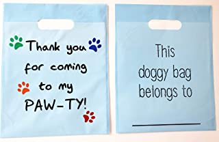 Puppy Paws Party Favor Bags, Celebrations Birthday Supplies Girls Boys Gift Kids Pups Patrol Dog Bear Goody Loot Treat Plastic Doggy Bag with Handle