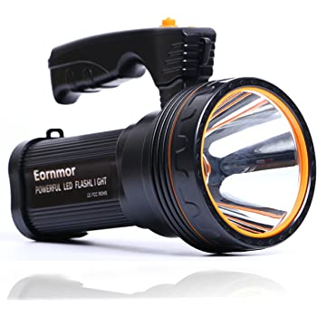 Eornmor High Power Outdoor Handheld Portable Flashlight Rechargeable 6000 Lumens Super Bright LED spotlight Torch Searchlight Multi-function Long Shots Lamp, 9000ma 35W (Black 1)