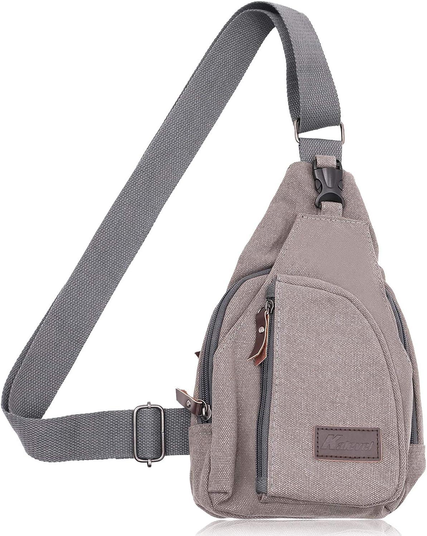 (Small, Grey) - Kalevel Cool Outdoor Sports Casual Canvas Unbalance Backpack Crossbody Sling Bag Shoulder Bag Chest Bag for Men