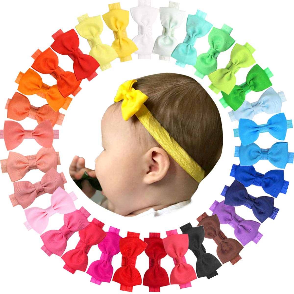 JOYOYO 30 Colors Baby Girls Headbands Grosgrain Ribbon Hair Bows Soft Hair Band Accessories for Newborn Infant Toddlers (Baby Bows)