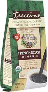 Teeccino Chicory Coffee Alternative – Organic French Roast – Herbal Coffee | Ground Coffee Substitute | Prebiotic | Caffei...