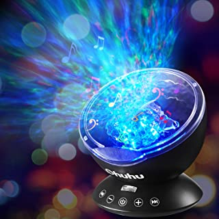 Ocean Wave Night Light Projector, Ohuhu Remote Control Projection lamp Rotation Northern Light Projector Mood Light, Upgraded 12 LED 7 Colors with Built-in Speaker for Baby Nursery, Adults and Kids