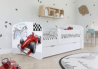 Wonderhome Kids Lit Enfant Blanc avec Matelas Inclus 70x140 80x160 80x180cm Lit pour Enfants avec Barrière de Sécurité, Ti...