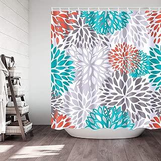 Didihou Waterproof Polyester Fabric Shower Curtain Orange Turquoise Grey Dahlia Print Decorative Bathroom Curtain with Hooks 71