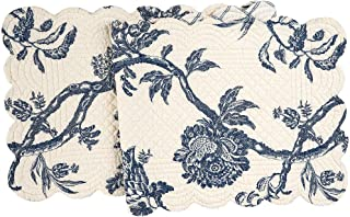 C&F Home Arcadia Cotton Quilted Reversible Table Cotton Machine Washable Runner 14x51 Runner Indigo