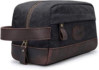 S-ZONE Vintage Leather Canvas Men Toiletry Bag Shaving Dopp Case Dopp Kit Makeup Bag Groomsmen Gifts