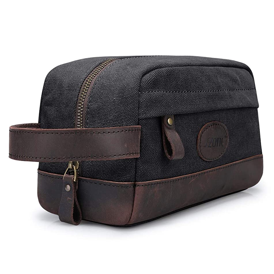 Father's Day Gift S-ZONE Vintage Leather Canvas Toiletry Bag Shaving Dopp Case Makeup Bag