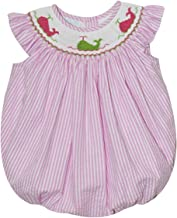 BETTI TERRELL Whales Smocked Hot Pink Stripe Angel Wing Bubble
