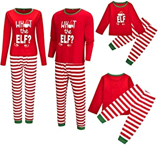 PowerFul-LOT Family Christmas Long Sleeve Printed Letter Top+Stripe Pant Pajamas,Men,Women,Kid Blouse Tops and Pants Red X...
