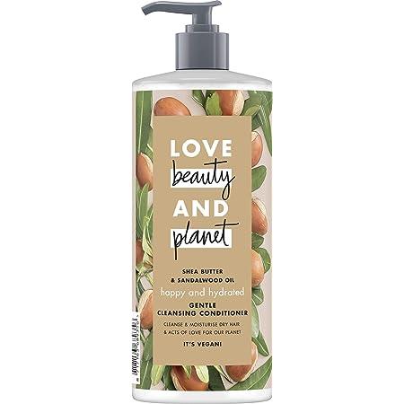 Love Beauty and Planet Happy & Hydrated Gentle Cleansing Balsamo per capelli secchi, burro di karité e olio di sandalwood senza silicone, 1 pezzo (500 ml)