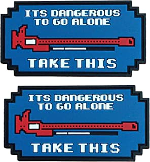 It's Dangerous to Go Alone Patch 3D Tactical Military Morale PVC Rubber Patches with Hook and Loop Backing Badges 2PCS (Blue)
