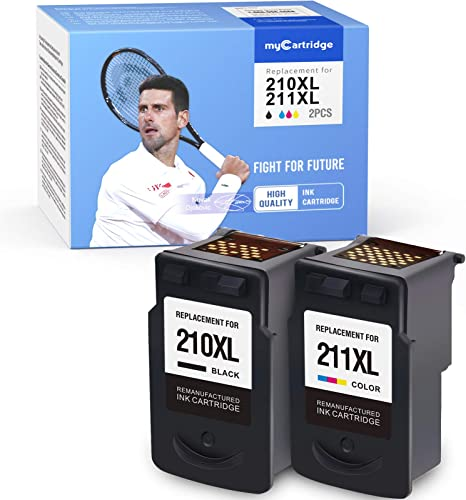 high quality MYCARTRIDGE online sale Remanufactured Ink Cartridge Replacement for Canon 210XL 211XL PG-210XL CL-211XL 210 211 popular Use with PIXMA MP240 MP490 MP495 MP280 MP250 MX410 IP2702 (1 Black 1 Tri-Color, 2 Pack) outlet sale