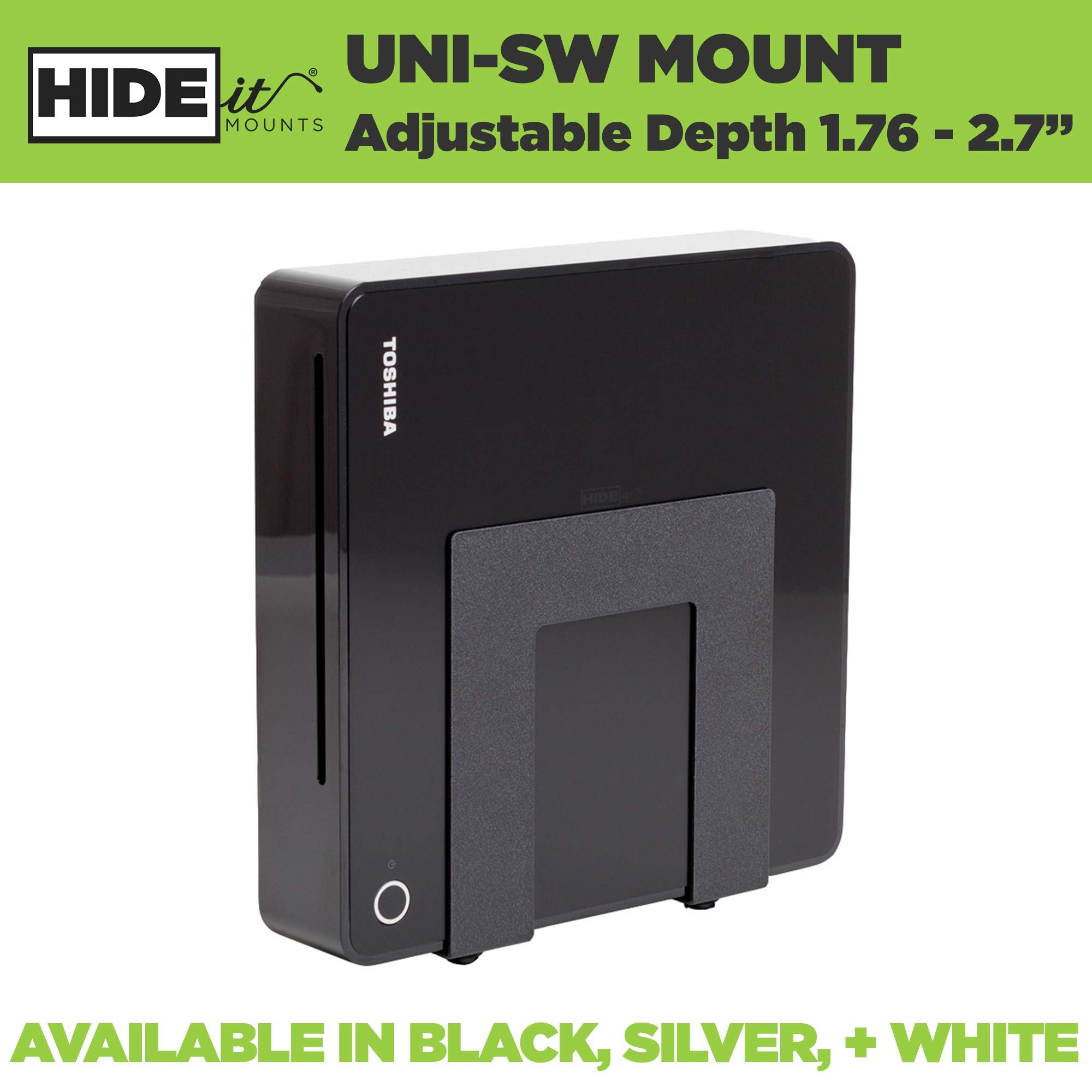 HIDEit Mounts Uni-SW Adjustable Cable Box Wall Mount for Small Devices, Cable Box Receivers, DVD Players, Routers, Modems, TV Box, Black Heavy Steel, Mount Behind TV or VESA Mount
