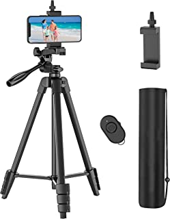 54 inch Phone Tripod, Lightweight Aluminum Travel Camera Tripod, Extendable Phone Tripod Stand with Rechargeable Remote, Q...