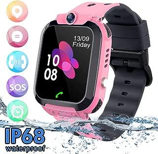 Kids Waterproof Smart Watch Phone, SZBXD LBS/GPS Tracker Touchscreen Smartwatch Games SOS Alarm Clock Camera Smart Watch Christmas Birthday Gifts for School Boy Girls (S12B-pink)