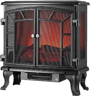 GY Calentador eléctrico de Estufa con Efecto de Llama de Registro, Control de termostato de 1000/2000 W, Calentador portátil Independiente Adecuado para Uso doméstico Radiador Negro