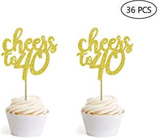 36 PCS Gold Glitter Cheers to 40 Cupcake Toppers for Number 40 40th Birthday Wedding Anniversary Party Decorations