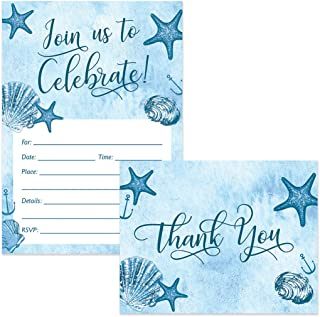 Any Occasion Invitations ( 25 ) & Matching Thank You Cards ( 25 ) Set with Envelopes Seaside Beach Nautical Theme Birthday Graduation Celebration Fill-in Invites & Folded Thank You Notes Great Value