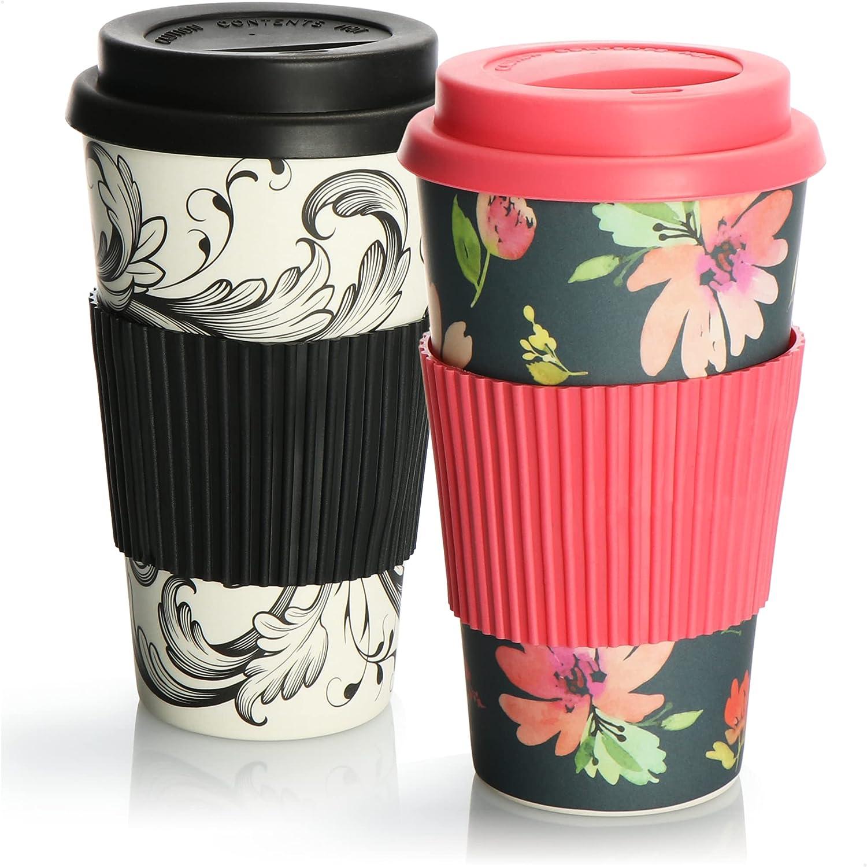 com-four® 2X Taza de café para Llevar de plástico - Café para Llevar - Taza Reutilizable para Beber - Taza de Viaje con Tapa - 425 ml (02 Piezas - Rosa-Gris/Negro-Blanco)