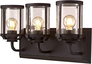 Westinghouse Lighting 6368100 Colville Three-Light Indoor Vanity Light Wall Fixture, Oil Rubbed Bronze Finish with Clear Seeded Glass