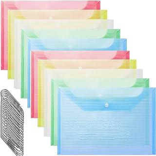 ファイル袋ナ ファイルバッグップボタン式ファイルバッグプラスチック透明 ドキュメントストレージ スマイルラブ A4 防水 文房具 事務用品 20本クリップ10個入り5色 横向き半透明 カラフル 書類 資料 収納 バッグ カバン