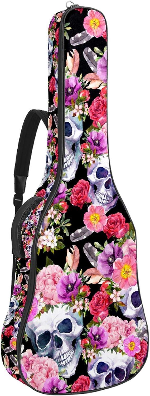 Bolsa de guitarra eléctrica acolchada gruesa, impermeable, doble correa ajustable para el hombro para guitarra de 41 42 pulgadas, calaveras humanas con flores