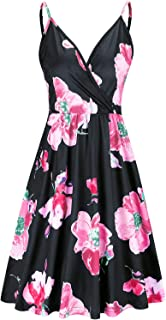 VOTEPRETTY Women's V-Neck Spaghetti Strap Summer Casual Swing Dress with Pockets