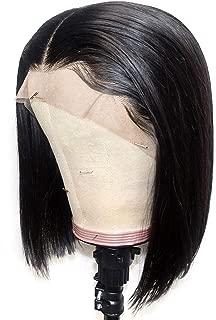 IWISH Straight Lace Front Wig Human Hair For Women 13X4 Straight Hair Short Bob Lace Wig Unprocessed Malaysian Virgin Human Hair Black Bob Wigs (10, Straight Hair Bob Wig)
